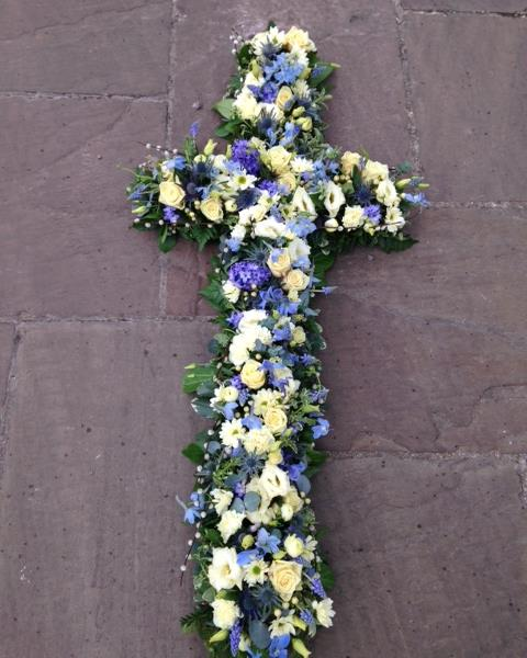 Blue Amp White Loose Traditional Cross Funeral Flowers March